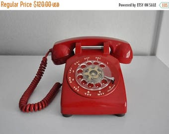 ON SALE Vintage Cherry Red Rotary Phone Telephone Bell System ITT