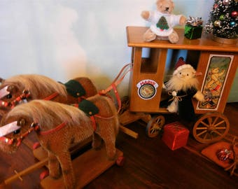 Sale Priced-Steiff Santa Express Christmas LTD Edition Set ALL IDs German Handmade Miniature Carriage Elf Toy Dolls Bears Holiday Tree Decor