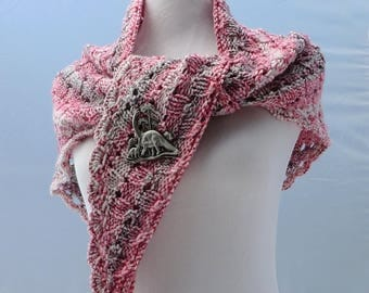 Hand knit shawl in white with red and black splatter