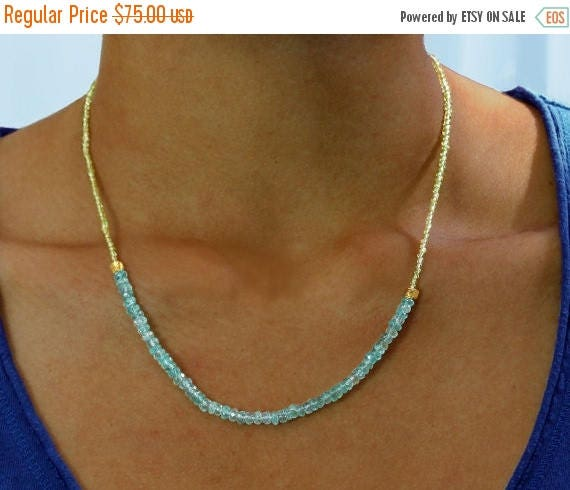 20% Off. Apatite and Peridot Necklace. Beaded Aqua Necklace. August & December Birthstones. Gemstone Jewelry.