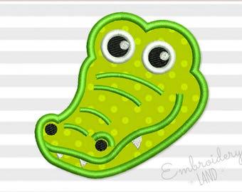 Alligator Head Applique Machine Embroidery Design 3 sizes 4x4 5x7 6x10 hoop AN039