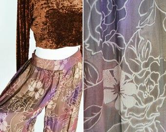 SUMMER SALE Vintage 1990'S Purple Floral Palazzo Pants - Boho Flowing Semi Sheer Wide Leg Pants - Gypsy Folk Pants- Ladies size Medium