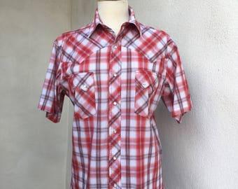 Vintage hipster cowboy snap red plaid shirt Wrangler Western Fashion sz M