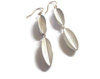 Long Silver Earrings, Modern Geometric Earrings,  Silver Drop Earrings, Artisan Handmade