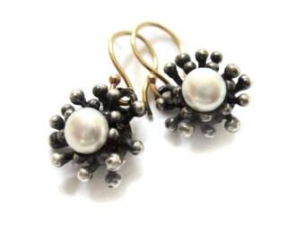 Oxidized Silver Pearl Earring Drops, Starburst Earrings, Small Pearl Earrings , Artisan Handmade  by Sheri Beryl