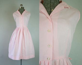 1950's Pink Shirtwaist Cotton Day Dress / Size Small