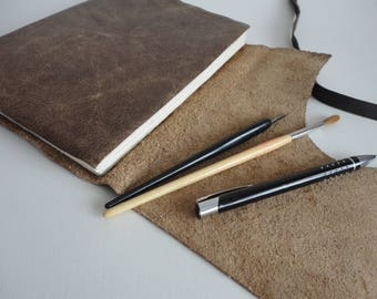 A5 Brown leather journal