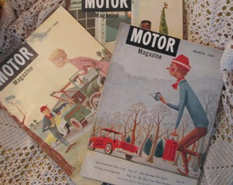 Vintage Motor Magazine, Lot of 3, March and August 1960, April 1962