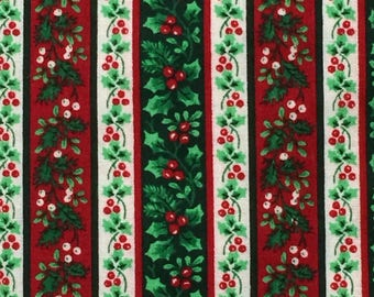 Christmas Fabric / Cotton Fabric / Christmas Holly Fabric / Christmas Floral Fabric / Quilting Fabric / Holly Fabric / Cotton Christmas