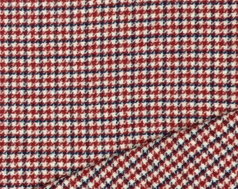 Wool Fabric / Red and Blue Plaid Wool / Red, Tan and Blue Plaid Wool / Houndstooth Wool Fabric / Wool Blend Fabric / Red Plaid Wool Fabric /