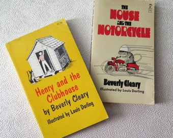 Beverly Cleary Mouse and the Motorcycle Henry and the Clubhouse Ralph Vintage 1970s Paperback Louis Darling Children's Books Kid's Stories