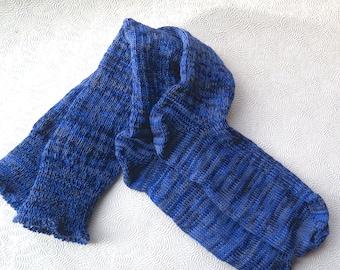 Blue Women's Boot Socks Knee High Socks Blue Gray Variegated Fashion CSM Handcranked Wool Cotton Blend Christmas Gift Custom Size Socks