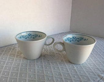 Wedding Sale Franciscan Ware Whitestone White Teacups with Blue Hearts  Blue Fancy Vintage Interpace Made in Japan