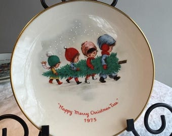 CIJ Collectible Moppets  Plate Happy Merry Christmas Tree 1975 Gorham Fine China