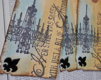 """LARGE TAGS 3 - """"Her Style Was Sassy with Just a Bit of Attitude"""" Chandelier Fleur de Lys"""