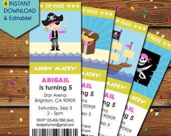 Pirate Girl Invitation, Pirate Girl Party Invitation, Girl Pirate Birthday Invitation, Pink Pirate Invitation, Pirate Invite, Pink Skull