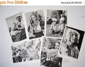 ON SALE Vintage lot of Prints of People Black and white wall decor