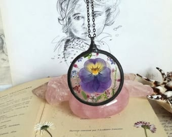 Nature jewelry, Pansy Flower Necklace, Forget me not Necklace, Forget me not Wildflower necklace, Moss Terrarium Necklace, bridesmaid gift