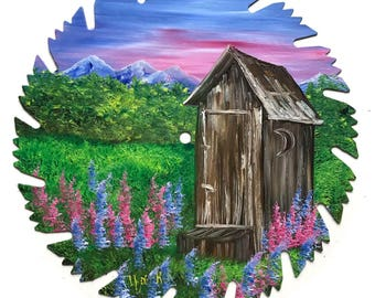 Hand Painted Saw Blade Mountain Summer Outhouse