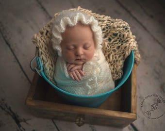 Newborn Ruffle hat, bonnet hat, bonnet photo prop, baby mohair bonnet, newborn lace hat photography prop, knitted bonnet, Choose more colors