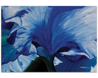 Traditional Wall Art 'Heart of a Blue Iris' by Cathy Pearson - Floral Decor Traditional Iris Artwork on Metal or Plexiglass