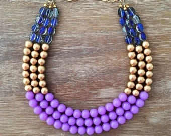 Statement Necklace Bridesmaid Jewelry SUMMER FLING Necklace  Wedding Jewelry Statement Jewlery Lavender Necklace Bib Necklace
