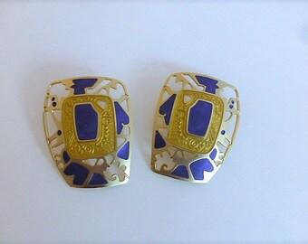 Vintage Edgar Berebi Purple and Gold Enameled Earrings