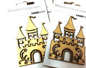 WOOD FAIRY CASTLE Embellishment.  Kaisercraft Wooden Flourishes.  Scrapbooking, Card Making, Mixed media and other projects. Die cut Castle