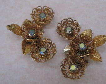 Floral Clip On Earrings With Aurora Borealis Rhinestones