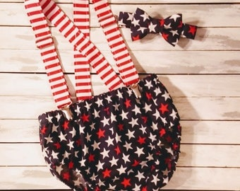 Boy July 4th Stars and Stripes Cake Smash Outfit - 1st Birthday Set -Red White Blue Diaper Cover Tie Set - First Birthday -  Cake Smash