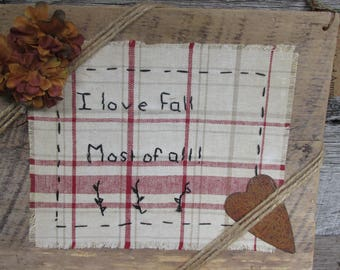 Prim Fall Barnwood Plaque, Fall Picture, Needlework Plaque, Farmhouse Decor, Farmhouse Picture