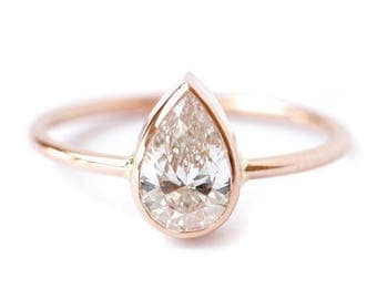 ON SALE Pear Shaped Engagement Ring, Pear Diamond Ring, Solitaire Engagement Ring, Rose Gold Engagement Ring, 0.75 Carat Diamond Ring, Pear