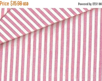 ON SALE Almost 2 Yds Pink & White Ticking stripe Cotton Fabric