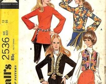 ON SALE VTG McCall's 2536 Misses/Junior Blouse, Vest And jacket Pattern, Size 13, Bust 35, Uncut