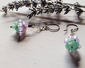 Pastel Earrings, woven ball, green pink purple, Ready to Ship