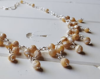 Latte Bib Necklace -- natural mother of pearl, Ready to Ship