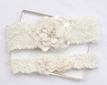Ivory Lace Garter Set, Wedding Bridal Garter Set, Wedding Garter Belt, Bridal Garters, Ivory Garter Set, Lace garter, Rustic wedding garter