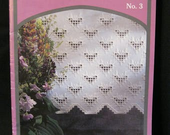 Hardanger No. 3, DMC, 15 pages, tri lingual instructions, black and white graphs, full color photographs, circa 1990's, nine designs