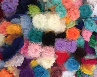 1000 Pieces Shabby Flowers - Grab Bag Flower - Solid 2.5'' Shabby Flower - Wholesale Shabby Flowers