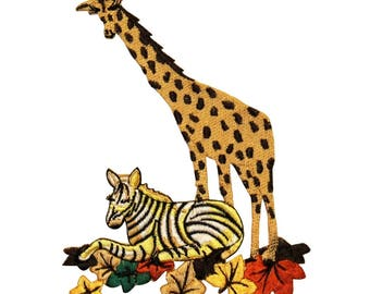 ID 0563 Giraffe and Zebra Patch African Animals Embroidered Iron On Applique