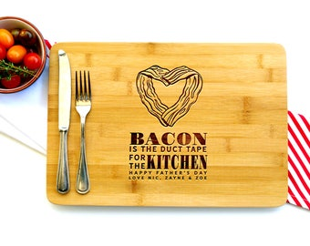 Personalized Cutting Board, Custom Cutting Board, Bacon Tape, Father's Day