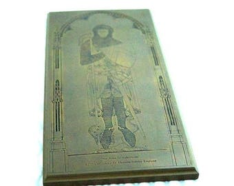 Vintage Metal Engraving Plate Depicting a English Knight