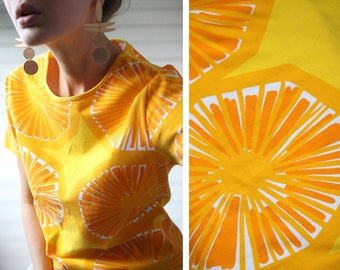 MARIMEKKO vintage sun yellow white abstract print cotton jersey short sleeve fitted summer T shirt tee top L