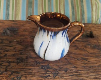 Vintage English Hand-Painted Copper Lustre Pitcher Creamer Jug with White Blue Brown Swirl Band Design