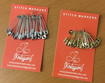 Locking stitch marker - Straight Col-less Pins - Coil less pins - Metal Safety pins - Set of 20
