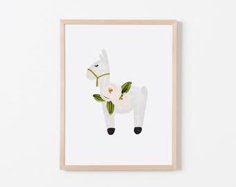 Floral Llama Nursery Art. Nursery Wall Art. Nursery Art Print. Llama Wall Art. Llama Nursery. Llama Printable.