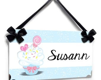 Personalized cupcake theme in blue accents bedroom door sign - P2647