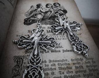 """Earrings silver goth bolt """"666 Pentagram 666"""""""