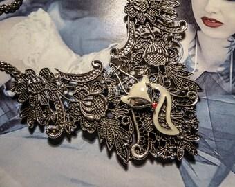 Silver bib necklace lace gypsy Bohemian white ♠Fox♠