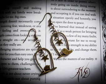 Bronze steampunk bird stars earrings